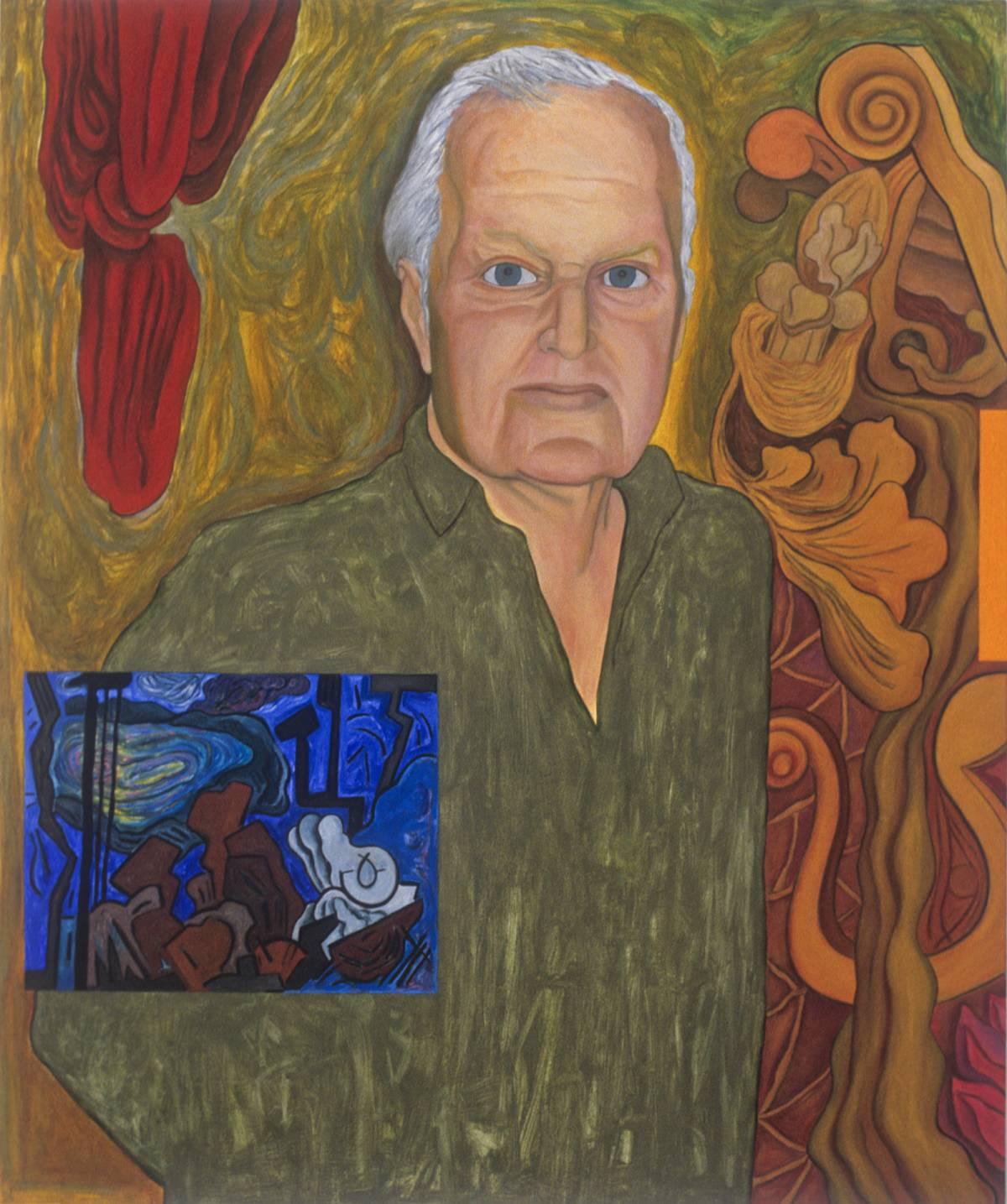 "Portrait of John Ashbery, 1997 | 64 5/8"" x 53 1/2"" 
